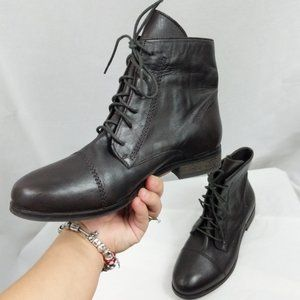Skechers Leather Combat Ankle Lace Up Boots 7